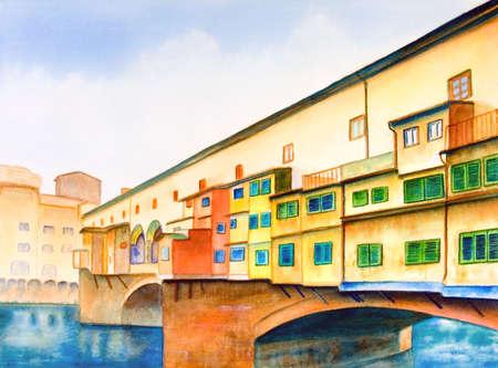 Ponte Vecchio (le vieux pont) � Florence, en Italie. Illustration peinte � la main.