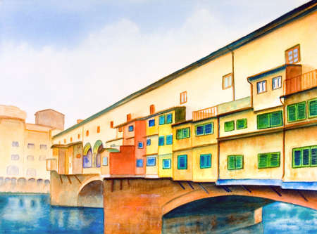 historical reflections: Ponte vecchio (the old bridge) in Florence, Italy. Hand painted illustration.
