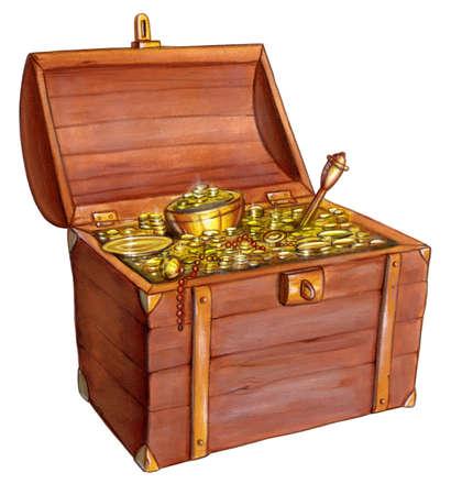 sceptre: Wooden treasure chest. Hand painted illustration.