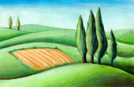 Country landscape. Typical tuscan hills in Italy. Hand drawn illustration. illustration