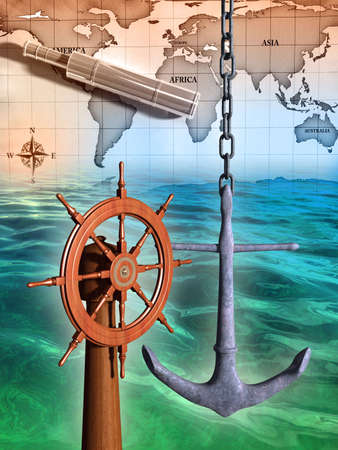 Navigation instruments composition on a sea background. Digital illustration.
