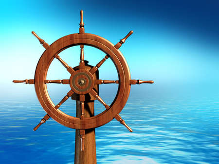 Ship wheel over a sea background. Digital illustration