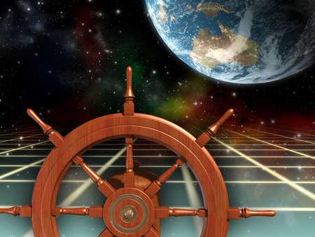 frontiers: Ship wheel, exploring new frontiers. Digital illustration.