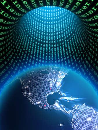 The Earth globe in a binary data tunnel. Digital illustration. Stock Illustration - 4615359