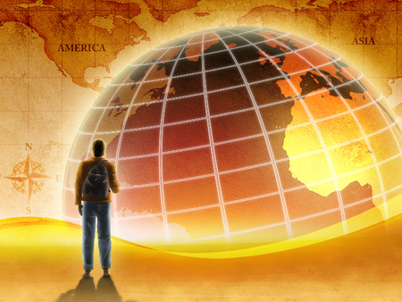 Traveler and world map rendered in a warm, retro style. Digital illustratrion. Stock Photo