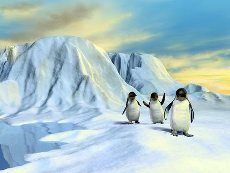 A group of cute penguins walking in an arctic landscape. Digital illustration. illustration