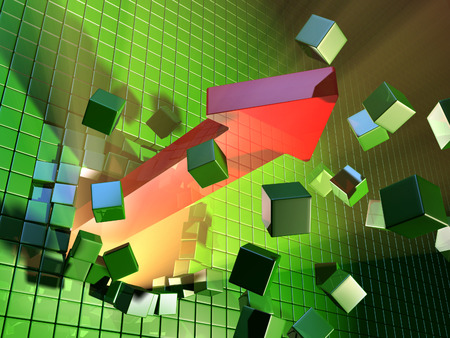 A big red arrow is breaking a cube wall. Digital illustration. illustration