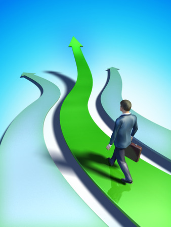 way up: Different paths representing business choices. A businessman chooses a green, upward climbing path. Digital illustration. Stock Photo