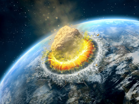 earthlike: Big asteroid crashing on the surface of an Earth-like planet. Digital illustration.