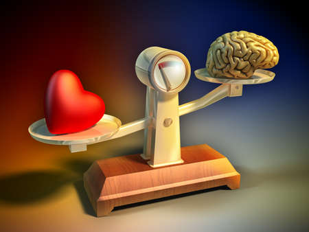 intuition: Heart and brain on a balance scale. Digital illustration.