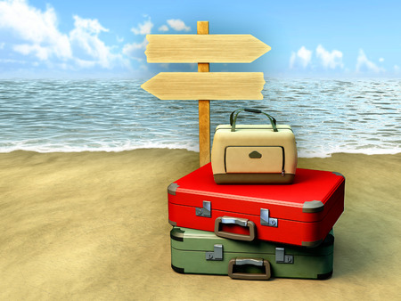 wave tourist: Some luggages and a tourist sign on a sunny beach. Digital illustration.