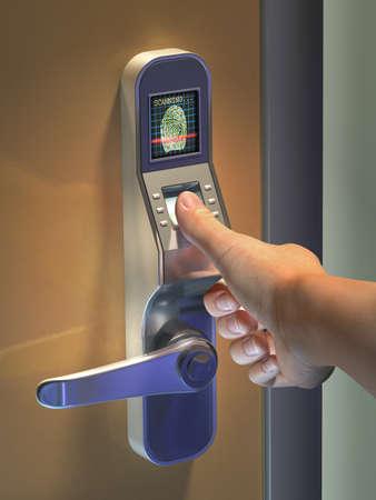 lock  futuristic: Fingerprint utilizzata come un metodo di identificazione su una serratura. Illustrazione digitale.