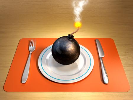 bombard: Una bomba accesa su un piatto con forchetta e coltello ai lati. Illustrazione digitale.
