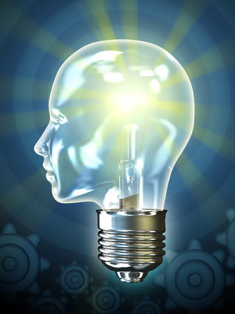 brain power: Traditional incandescent light bulb in the shape of an human head. Digital illustration.