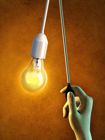 turn off: Hand pulls a cord to turn on a light-bulb. Digital illustration.