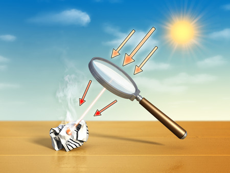 concentrate: Magnifying lens used to concentrate some solar rays on a piece of crumpled paper. Digital illustration.