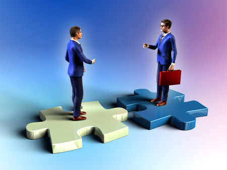 businessman standing: Two businessman having a meeting while standing on some puzzle pieces. Digital illustration. Stock Photo