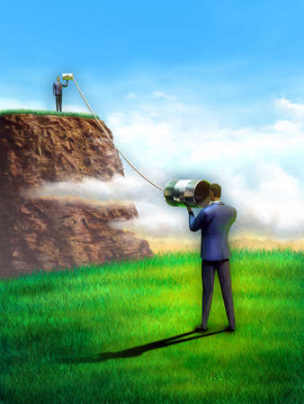 Two businessmen communicate using some tin cans. Digital illustration. illustration