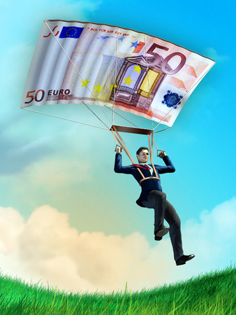 Businessman using an euro bill as a parachute. Digital illustration. illustration