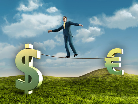 to tight: Businessman walking on a rope connecting some currencies symbols. Diigtal illustration.