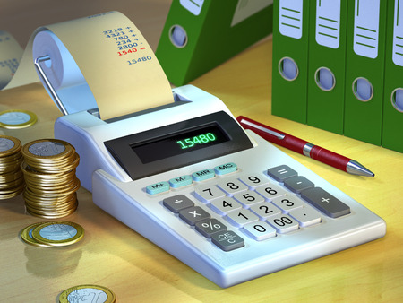 stilllife: Office still-life showing a printer calculator, some coins and a group of document binders. Digital illustration. Stock Photo