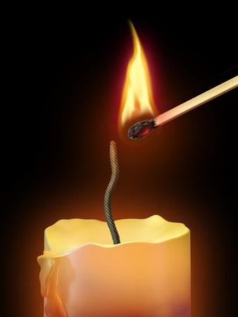 night stick: Burning match lights a candle. Digital illustration.