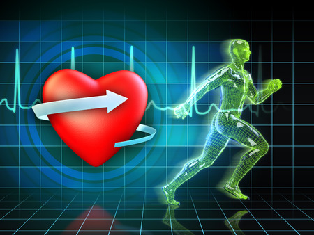 electrocardiogram: Cardio exercise increases the hearts health. Digital illustration. Stock Photo