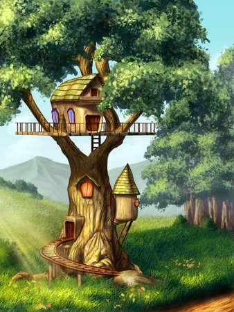 arboles de caricatura: Casa de la fantasía construida en un árbol. Ilustración digital original.