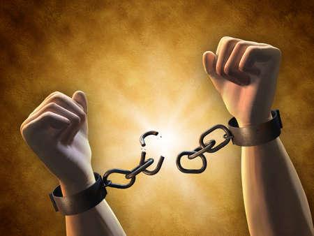 Wiederherstellen Freiheit: ein Mann bricht eine Kette. Digitale Illustration. Lizenzfreie Bilder