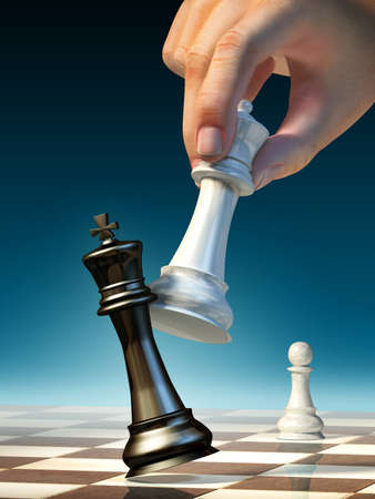 chess pieces: White queen moves to win a chess game. Digital illustration. Stock Photo