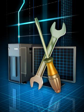 computer problems: Alcuni strumenti utilizzati per risolvere i problemi del computer. Illustrazione digitale. Archivio Fotografico