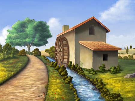 molino de agua: Antiguo molino en un paisaje campestre. Ilustración digital.
