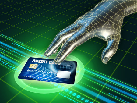 invade: Hackers hand trying to steal a credit card. Digital illustration. Stock Photo