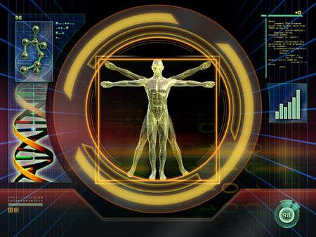 uomo vitruviano: Immagine di una figura maschile ideale analizzati da un software di alta tecnologia. Illustrazione digitale.