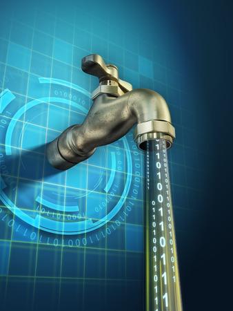 llave de agua: Informaciones sensibles se están filtrando a través de un grifo abierto. Ilustración digital. Foto de archivo