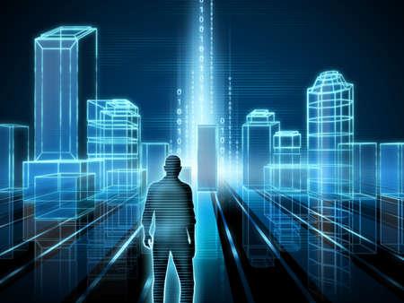 codigo binario: Prestación de alambre-marco de una ciudad moderna. Ilustración digital.