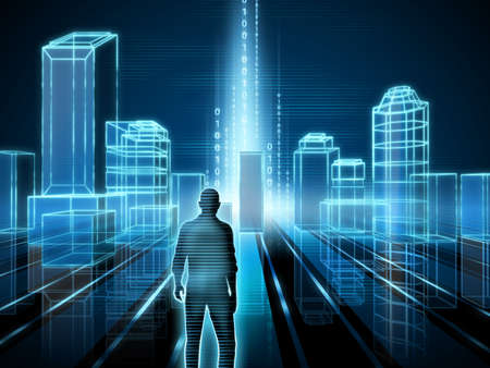 cyber business: Wire-frame rendering of a modern city. Digital illustration. Stock Photo