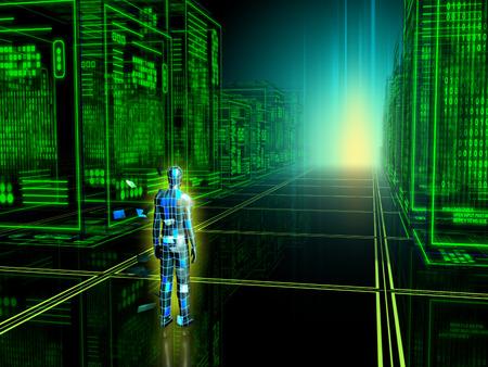 virtual reality: Human figure entering into a virtual reality. Digital illustration.