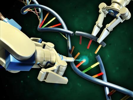 modifying: Two robotic arms modifying a dna helix. Digital illustration.