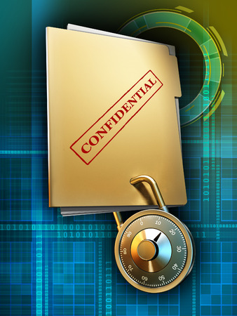 secret number: A document folder travels through cyberspace with its content protected by a combination lock. Digital illustration, included clipping path to separate main subject from background.