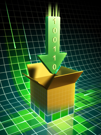 Data download represented by a green arrow pointing to a box emerging from a wire frame surface. Digital illustration.
