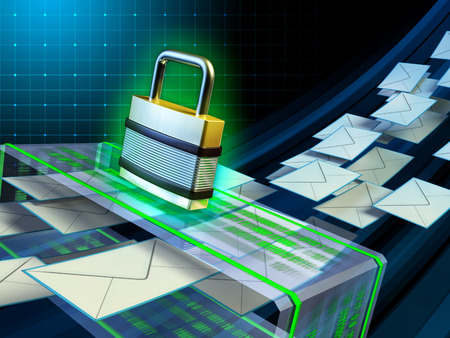 ssl: Email stream passing through a security scanner. Digital illustration. Stock Photo