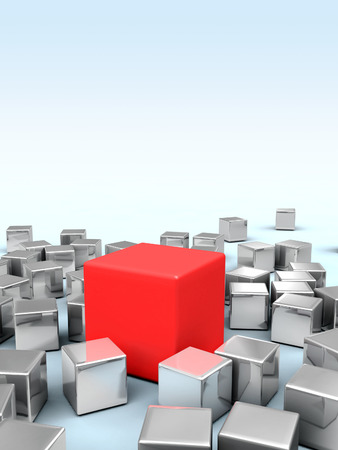 One big red cube stands in the middle of many smaller metallic cubes. Digital illustration. illustration
