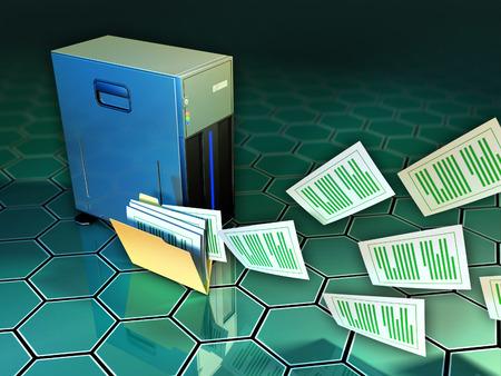 Some documents flying out of a file folder, next to a tower server. Digital illustration. illustration