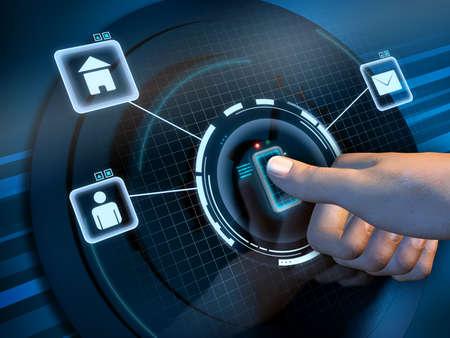 reconocimiento: El reconocimiento de la huella digital utiliza para acceder a una interfaz de software. Ilustración digital. Foto de archivo