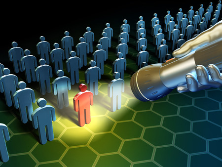 Verwenden Sie eine Taschenlampe, um in einer großen Gruppe von Menschen Icons zu suchen. Digitale Illustration.