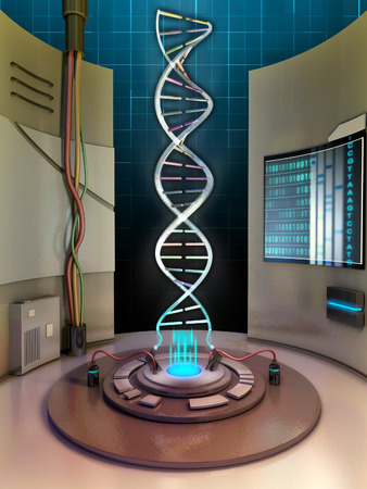 chamber: Creating a dna helix in an high technology chamber. Digital illustration. Stock Photo