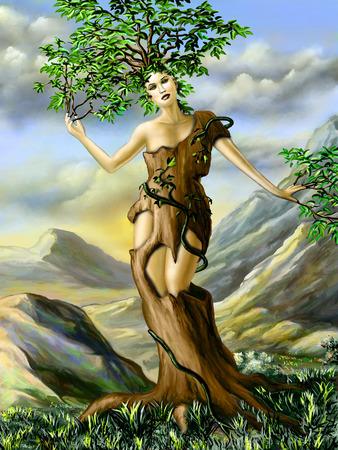 metamorphosis: Fantasy portrait of an half girl, half tree creature. Digital illustration.