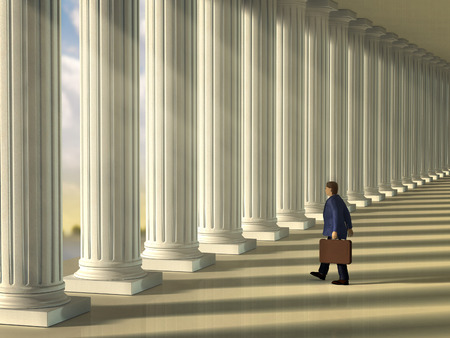 supreme court: Businessman walking through a column lined walkaway . Digital illustration.