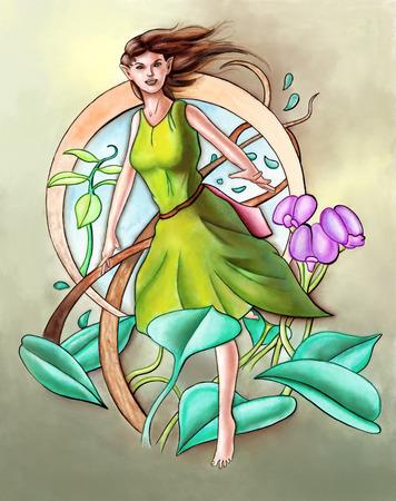 faery: Cute green faery. Hand paintedl illustration.